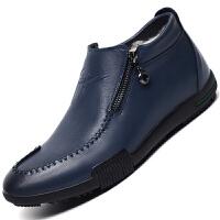 冬季真皮商务休闲棉鞋男加绒保暖潮流高帮男鞋加厚羊毛男士棉皮鞋