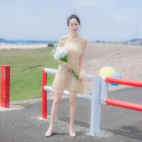 秋装新款女装初恋裙吊带露肩一字肩网纱海边度假连衣裙很仙的裙子 金色
