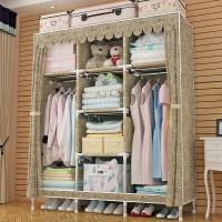 简易布衣柜全钢架加厚家用经济型布柜钢管加粗加固简单租房挂衣柜