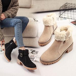 女式 秋冬新款圆头粗跟翻边儿毛毛女士优雅短靴马丁靴女