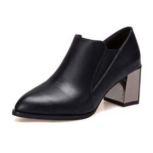 WARORWAR新品YM32-9999冬季韩版磨砂反绒粗跟高跟尖头女士靴子裸靴