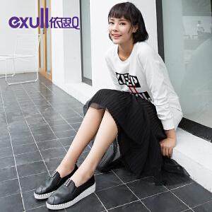 依思q秋季新款圆头套脚休闲单鞋舒适低跟懒人鞋女鞋