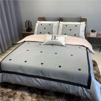 床上用品四件套床纯棉网红款简约床单全棉被子被套六件套床笠定制! 灰色 诺伊