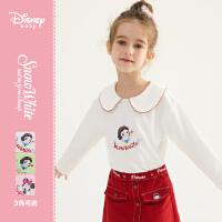 迪士尼女童时尚翻领长袖T恤童装洋气卡通白雪公主儿童宝宝上衣3