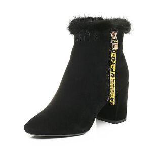 Belle/百丽2017冬时尚优雅羊绒皮女短靴17710DD7