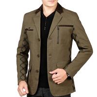 春秋新款爸爸男装中年男士夹克纯棉薄款上衣修身休闲外套 37 绿咖