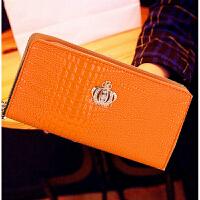 女士长款钱包 双拉链手拿包大容量菱格漆皮手拎包 糖果色可放手机 桔色