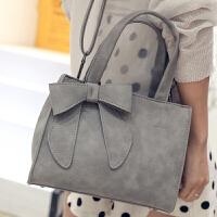 欧美时尚托特包立体蝴蝶结女包休闲手提包单肩斜挎包 灰色