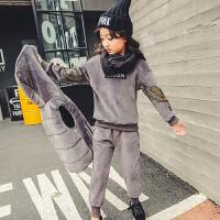女童金丝绒套装秋冬装2018新款大儿童韩版时髦两件套小女孩潮童装