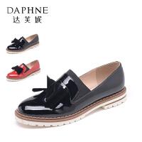 【达芙妮年货节】Daphne/达芙妮时尚漆皮流苏低跟套脚乐福鞋女单鞋