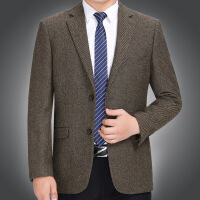 秋冬季毛料休闲西装男外套单西中年男士羊毛纯色西服中老年爸爸装 驼色