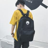 男生双肩包潮韩版校园大学生书包日韩时尚高中生电脑背包帆布个性