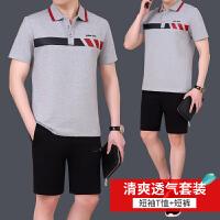 中老年男士运动套装时尚翻领短袖短裤运动服男休闲爸爸装运动装