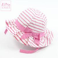 儿童帽子凉帽女宝宝渔夫帽0-3-6-个月夏季遮阳帽1-2岁童帽夏帽5465 粉红色 条纹有防风带 均码 44约2~5月头
