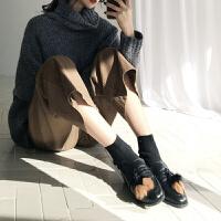 袜子鞋女皮鞋2018新款女鞋秋款平底韩版袜子鞋chic韩风鞋子带袜鞋黑色小皮鞋女 TBP