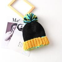 撞色大毛球球毛线帽子女韩国女士秋冬天加厚保暖护耳针织帽韩版潮LCQ M(56-58cm)