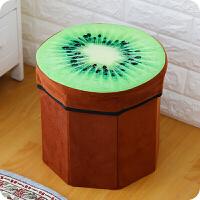 绒布水果凳储物凳收纳凳玩具收纳箱小凳子换鞋凳储物箱