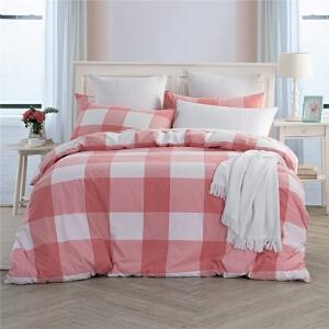多喜爱家纺全棉水洗色织四件套简约条格套件床单被套秋水夕阳