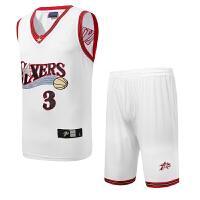 费城76人3号阿伦艾弗森球衣套装黑白两款 刺绣 透气新款 X