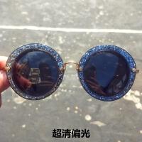 2018年新款明星款周冬雨许晴同款太阳眼镜晚晚圆框复古闪框墨镜