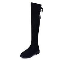 过膝靴女弹力长靴2018秋冬新款显瘦长筒靴圆头绑带高筒靴潮 黑色