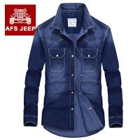 AFS JEEP长袖衬衫男战地吉普纯棉休闲潮多口袋长袖衬衫衬衣6523