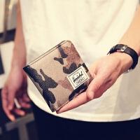潮男士钱包男女青少年横款钱包短款迷彩小钱包潮流