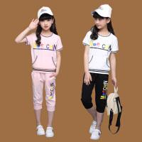女大童女装夏装短袖T恤套装女童夏季女孩运动服两件套