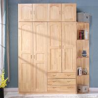 【限时7折】实木衣柜卧室柜子收纳省空间小户型松木整体儿童衣橱柜经济型定制