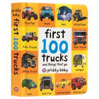 交通工具启蒙认知100词系列 英文原版 First 100 Trucks 英文版 精装纸板书 0-3岁儿童绘本 进口原