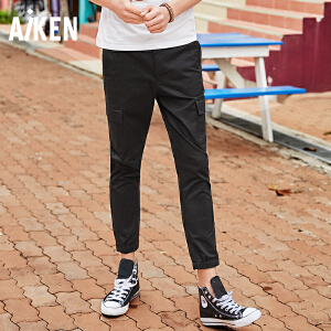 Aiken爱肯2018夏季新款工装裤男生个性青少年男运动青年休闲长裤