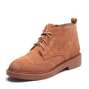 Teenmix/天美意2017冬专柜同款牛剖层皮英伦风方跟女短靴AP861DD7