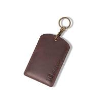 真皮公交卡包证件卡套创意挂脖门禁卡电梯卡饭卡通用卡套钥匙扣