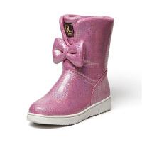 女童靴子皮靴韩版2018冬季加厚绒短靴蝴蝶结雪地靴小女孩公主童鞋真皮