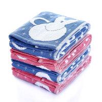 日本爱尚佳品洗脸毛巾纯棉方巾2条吸水婴儿童毛巾提花R1018