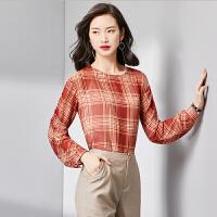 【女王节 活动价:66元】梵希蔓两件套格子雪纺衫2018秋季新款短款上衣长袖