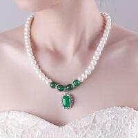 天然淡水珍珠项链 配和田碧玉玛瑙吊坠 送妈妈送女性 母亲节礼物