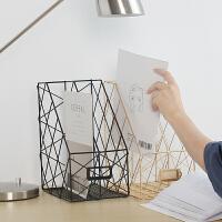 北欧铁艺办公桌面置书架办公用品整理置物架文件夹杂志桌面收纳盒