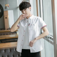 夏季男士短袖�r衫男青少年�n版棉�|薄款�r衣�W生打底修身潮白寸衫