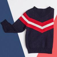 【满1000减750】米喜迪mecity童装冬装男童含羊毛时尚撞色半高领毛衣