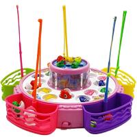 音乐旋转双层钓鱼池磁性抓鱼玩具儿童电动钓鱼套装宝宝1-3岁 选此项+充电电池3节+充电座