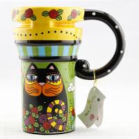 仟度彩绘陶瓷杯 创意水杯情侣对杯子带盖带勺咖啡杯 大容量马克杯