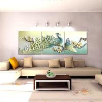 【优选】客厅3D立体浮雕装饰画中式沙发背景墙三联挂画现代简约富贵孔雀图 70cm*70cm 25mm厚板+25mm立体