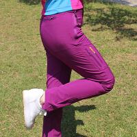 冲锋裤男冬季加绒防水户外速干裤男女夏季薄款透气登山裤运动长裤 紫色 薄款 M -女生