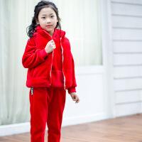 男童冬装金丝绒套装2018新款中大童卫衣女孩夹棉加厚加绒韩版三件