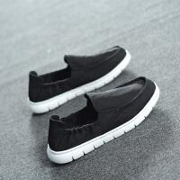 2018环球帆布鞋男韩版潮流百搭一脚蹬懒人休闲男士板鞋北京布鞋男