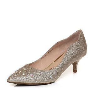 Tata/他她2018春专柜同款金色亮片布水钻尖头酒杯跟女鞋2NCB8AQ8