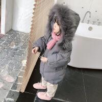 №【2019新款】小朋友穿的女童装新款韩版宽松宝宝真毛领中长款羽绒棉衣外套