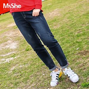 MsShe加大码女装2017新款秋装弹力显瘦中腰牛仔裤小脚裤M1740161