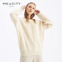 【1件3折价:128.7,可叠券】MECITY女装冬季直筒长袖罗纹圆领薄款毛衫女